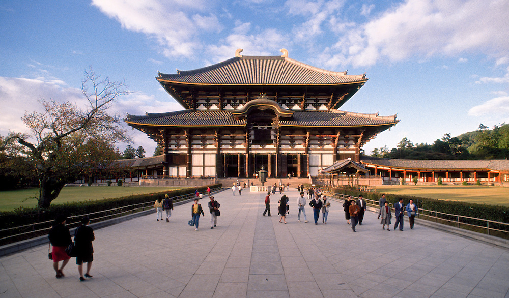 Exterior view of Todaiji (temple), Nara, Japan. The Daibutsuden (Great Buddha Hall) is the largest wooden structure in the world, and houses the worldÕs largest Daibutsu (Buddha statue)