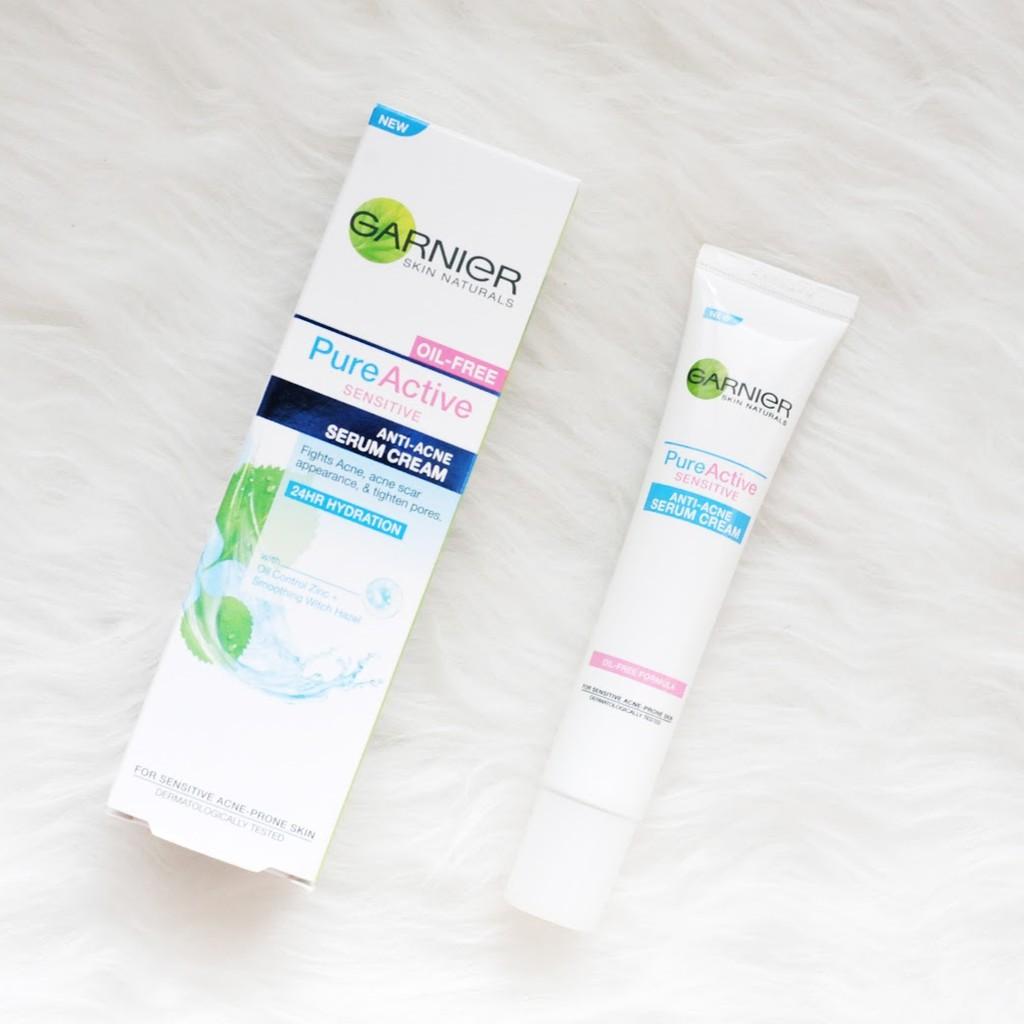 Garnier Skin Natural Pure Active Sensitive Anti-Acne Serum Cream ครีมลดหน้ามัน ครีมรักษาสิว