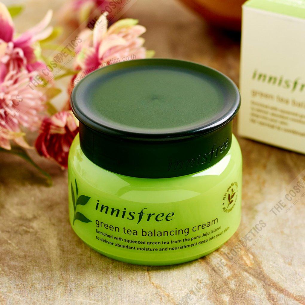ครีมลดหน้ามัน Innisfree Green Tea Balancing Cream เครื่องสำอางเกาหลี